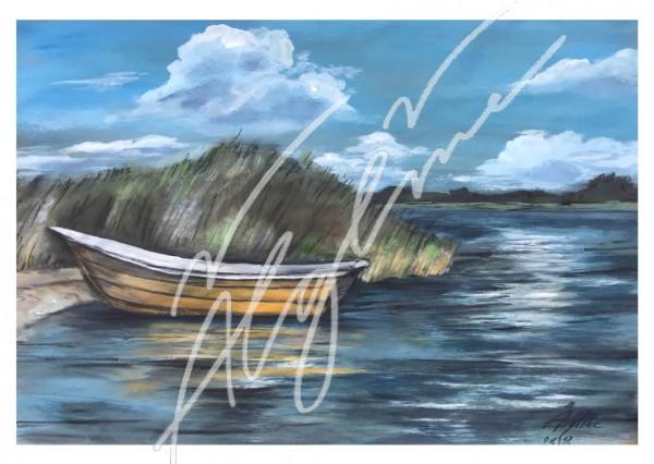 Postkarte: Das gelbe Boot