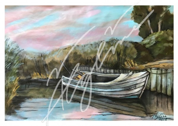 Postkarte: Nach dem Segeln im Hafen